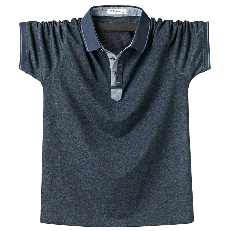 New Men Polo Shirt Mens Side Stripe Solid Polo Shirts Camisa Men Casual Cotton Shirt Homme 6XL 5XL XXXXL Plus Size Business