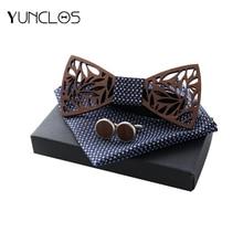 купить YUNCLOS Openwork Wooden Bow Tie Men Wedding Dinner Party Men Bow Tie New Design Bow Tie+Square Towel+Cufflink Suit Accessories онлайн