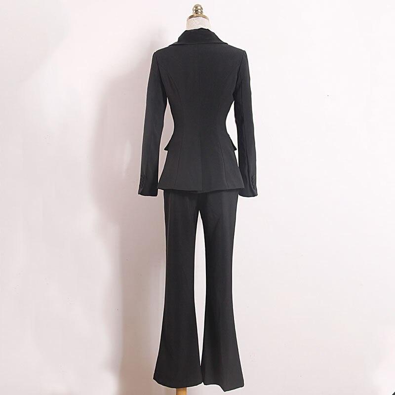 Women's suit fashion slim women's suit two piece suit blazer with slacks trousers women's business casual professional wear set - 4