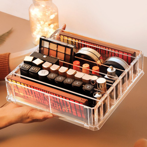 Image 2 - 8 layer Makeup Storage Box Acrylic Cosmetic Organizer Transparent Lipstick Blush Storage Display Compartment Grid Plastic Box