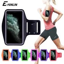 Wodoodporny sport bieganie trening siłownia pokrowiec na ramię dla iPhone 11 Pro XS Max XR X 8 7 6 6S Plus SE 5 5S 4S etui etui paska torba tanie tanio E-KINLIN Anti-knock Wodoodporna Odporna na brud Z Kieszeni Karty Running Gym Sport Arm Band Phone Holder Case Apple iphone ów