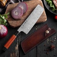 Ножи накири шеф повара HEZHEN 180 мм, 110 слоев, японские кухонные ножи шеф повара из дамасской стали VG10, нож с кожаным ножом