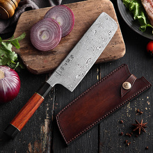 HEZHEN 180mm Chefs Nakiri Knife 110 Layers  Japanese Damascus Steel Kitchen Chef Knives VG10 Cleaver Knife with Leather Sheath