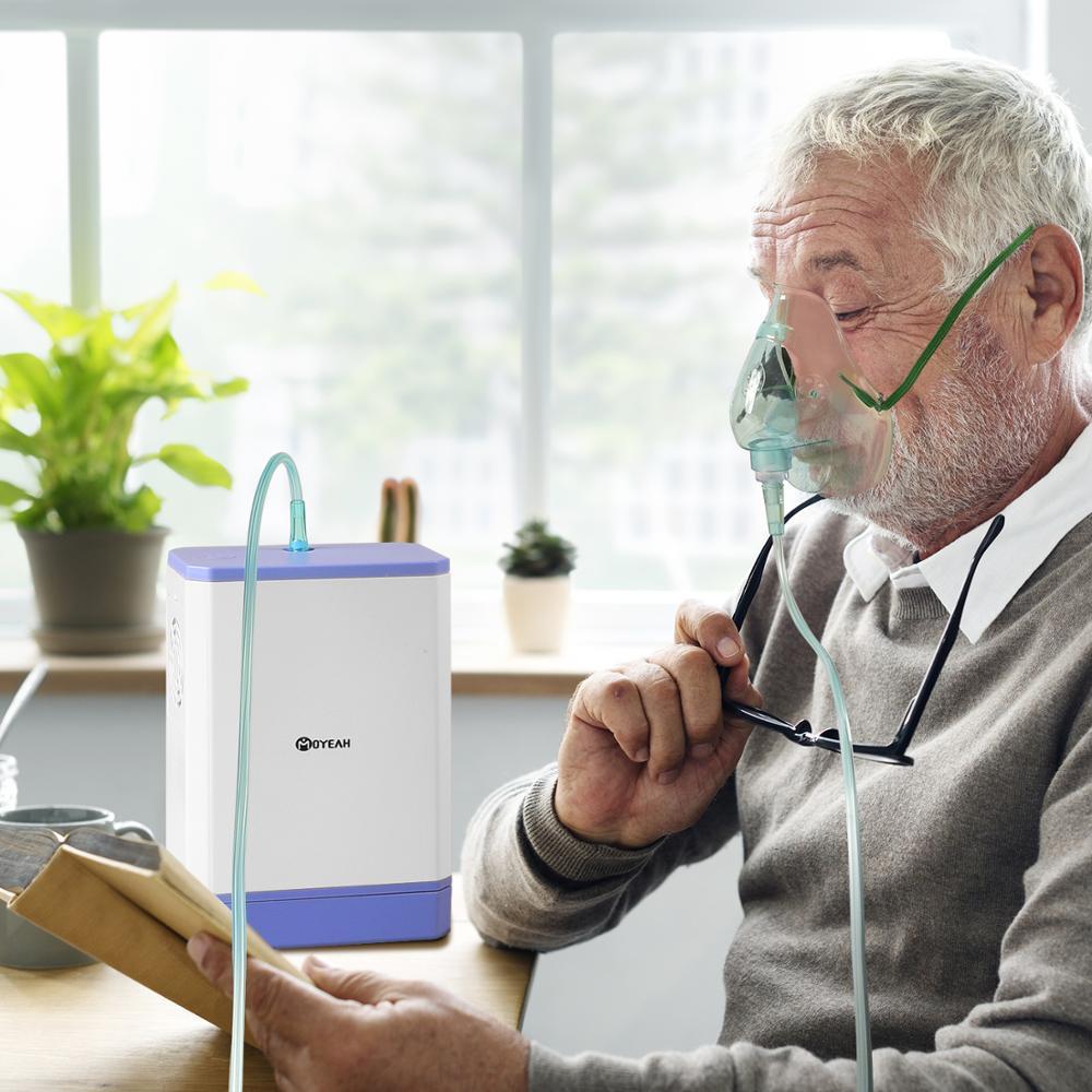 Портативный домашний кислородный генератор, медицинская машина, 3л/мин, литий-ионный аккумулятор, концентратор кислорода с носовой канюлой,...