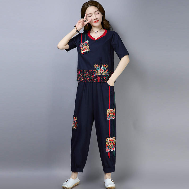 2019 Spring And Summer New Style Ethnic-Style Cotton Linen Literature And Art Embroidered Joint Loose Tops + Loose Pants Set