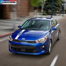 Autocollant de capot de voiture à rayures, adhésif de Sport, couverture de moteur automobile, en vinyle, pour KIA RIO Hatchback Sedan, accessoires extérieurs, DIY bricolage