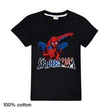 3-16years meninos t camisa dos desenhos animados para o bebê spiderman menino tshirt mangas curtas crianças roupas de verão da criança menino camisas