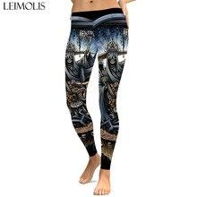 LEIMOLIS sexy gothic Skull Pope grail print push up leggings plus size women fitness workout punk high waist spandex leggins