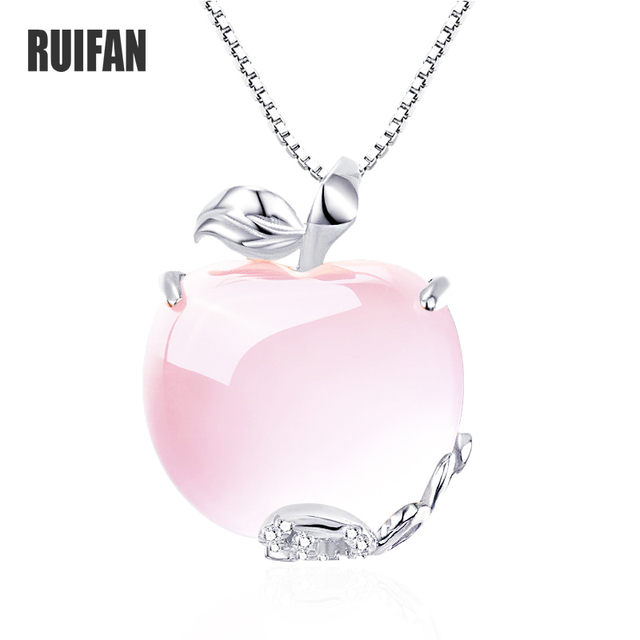 Ruifan Apple Shape Natural Rose Quartz White/Rose Gold 925 Sterling Silver Woman Pendants Link Chain Necklaces Jewelry YNC092