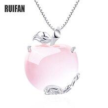Ruifan collares de cadena de eslabones en forma de manzana, Natural de cuarzo rosa, colgantes para mujer de Plata de Ley 925 de oro blanco/rosa, joyería YNC092