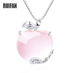 Image 1 - Ruifan forma de maçã natural rosa quartzo branco/rosa ouro 925 prata esterlina mulher pingentes link corrente colares jóias ync092