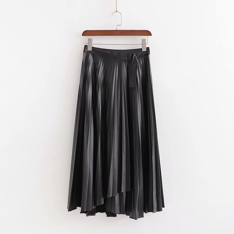 Women PU Leather Wrap Skirt Button Fly Irregular Design Skirts Black Female Chic Mid Calf Pleated Skirt Mujer