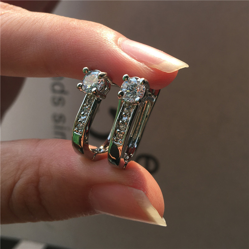 Vintage Female White Zircon Stone Earrings Classic Silver Color Clip Earrings For Women Simple Round Crystal Wedding Earring