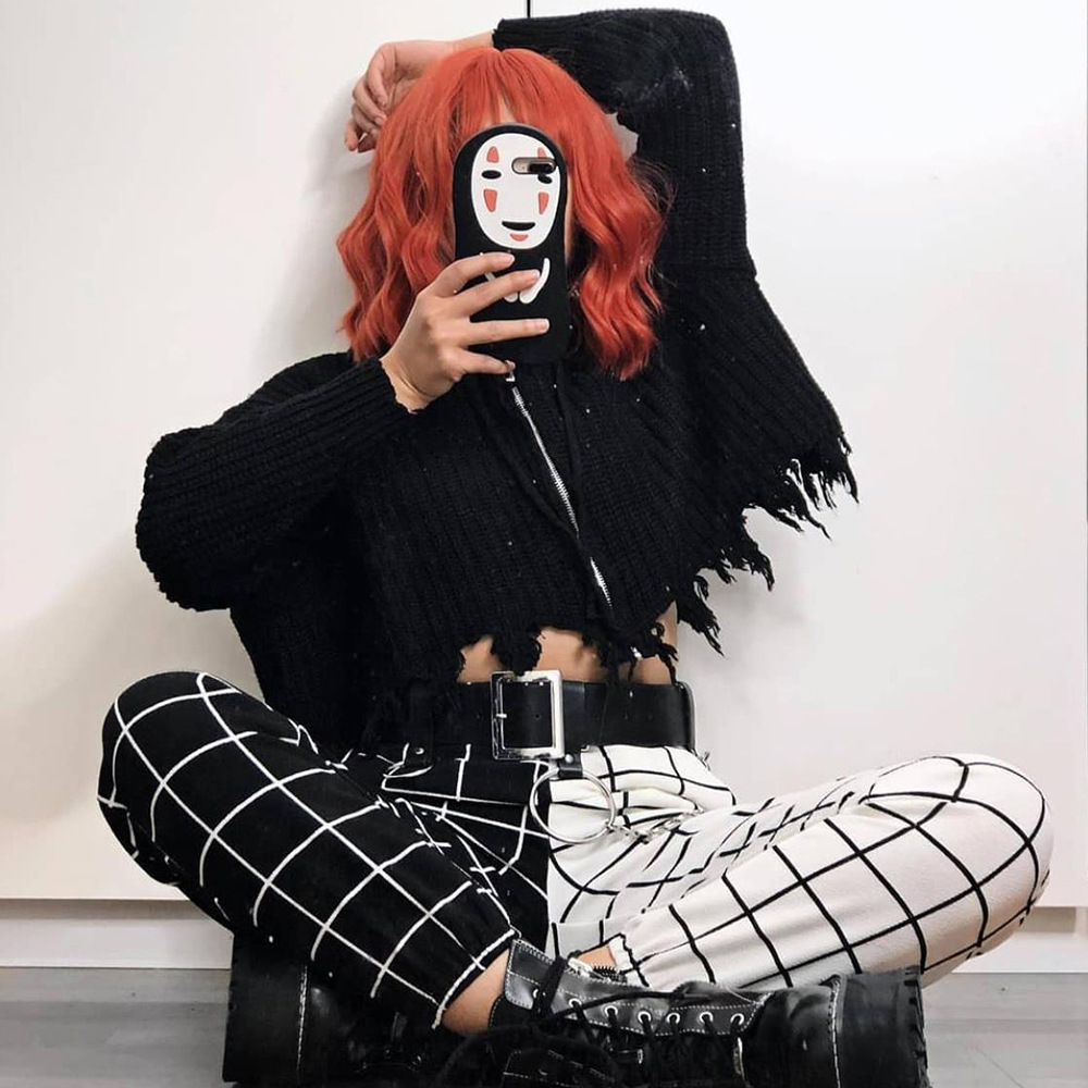 InsGoth Checkerboard Plaid Casual Cargo Pants Women Gothic Streetwear Fashion High Waist Patchwork Long Trousers 1