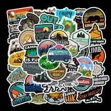 50Pcs Wilderness Camping Stickers Travel For Wall Decor Living Bedrooms Skateboards Laptop Luggage Bicycle Waterproof Stickers