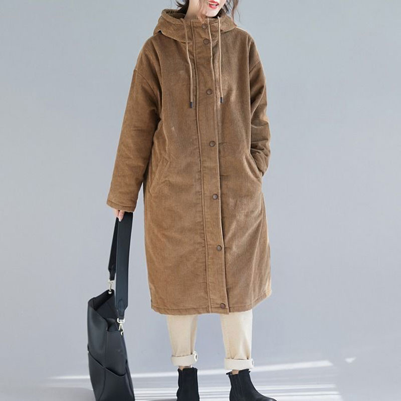 Autumn Winter Faux Fur Coats Parkas Casual Loose Corduroy Female Long Jackets Vintage Thick Lady Slim Hooded Outwears