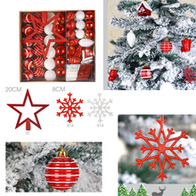 80PCS DIY Hanging Christmas Tree Pendant Creative Decoration Ball Snow Top Star Snowflakes Multi-Pack Dec