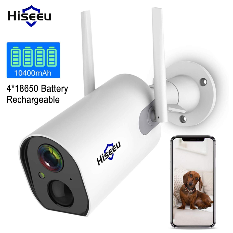 Hiseeu Wireless Outdoor Security IP Camera Battery Powered Rechargeable 1080P HD Enhanced WiFi Camera IP65 Waterproof PIR Alarm