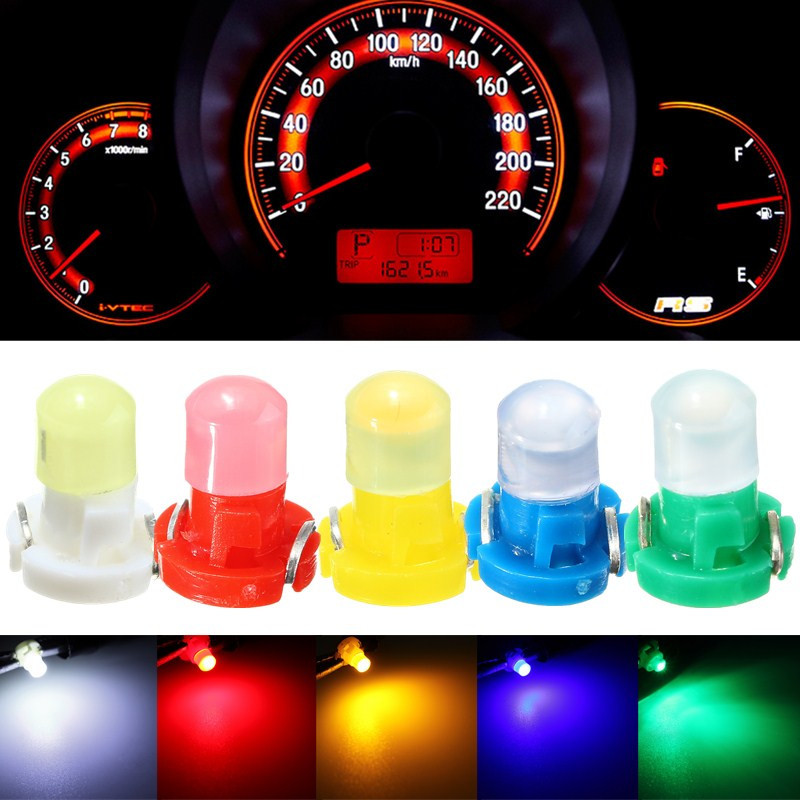 10pcs/lot T3 LED Light Bulb Cluster Gauges Dashboard White/Yellow/Blue/Red/Green Instruments Panel Climate Base Lamp Light