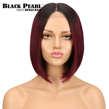 Black Pearl Short Pixie Cut Bob Wigs For Women Brazilian Straight Human Hair Wigs with Bangs middle part lace wig