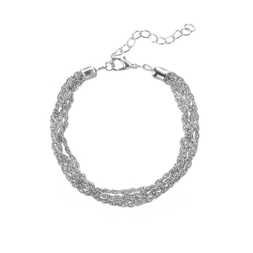 Eenvoudige Vrouwen Armbanden Multilayer Ketting Disc Kwastje Hanger Zilveren Kleur Armband Set Dance Party Kostuum Sieraden Accessoires