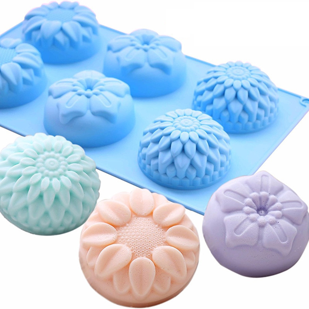 6 Cavity Flower Shaped Silicone DIY Handmade Soap Candle Cake Mold Supplies 6 Hole Crafts Handmade Soap Mold Fast Sent Wholesale