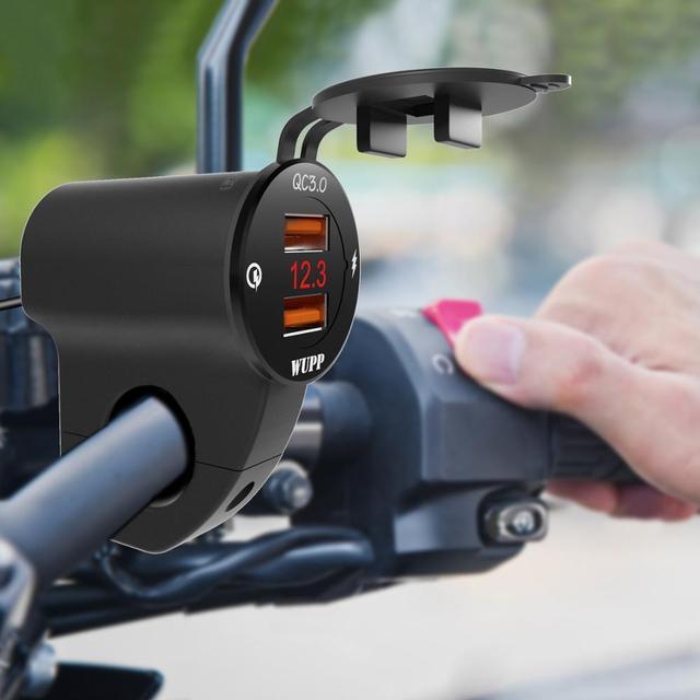 BuzzLee Switch double Port USB 12V étanche moto guidon chargeur 5V 3.4A avec voltmètre pour téléphone Mobile