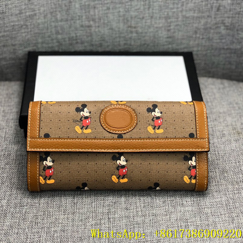 2020 Retro New GG Female Mickey Wallet Luxury Designer Wallet Coin Purse Card Package Folded Leather Wallet
