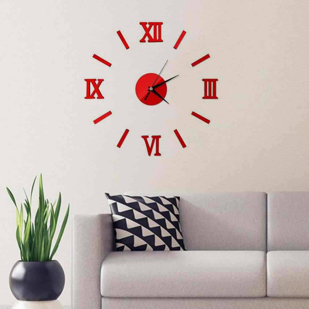 Plastic Mirror Surface Number 3D Wall Clock Stickers Hanging Clock Wall Sticker DIY Wall Decor Living Room Office Home Decor