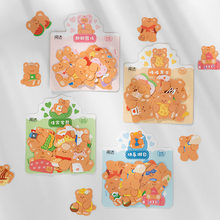 40pcs/pack Cute Bear Stickers Travel Journal Decorative Stickers Kawaii Scrapbooking Planner Stationery Album Diary Stickers