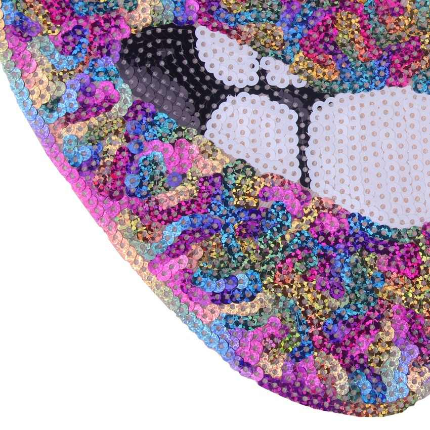 Shiny Paillettes Patch Sexy Arcobaleno Lip Patch di Ferro Su Adesivi Bella Bocca di Patch Del Fumetto Handmade Grande Applique Per I Vestiti