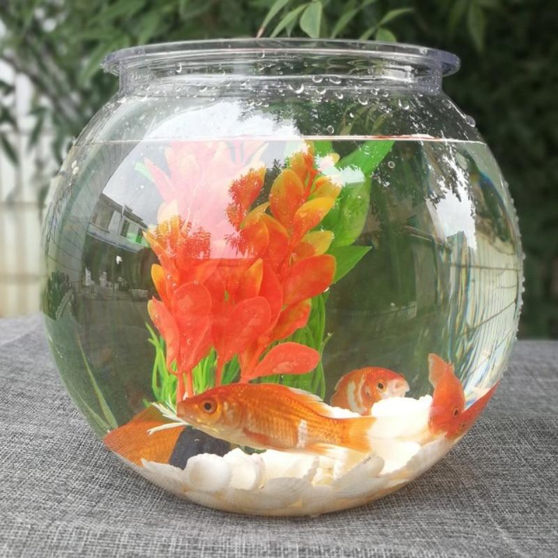 Goldfish Bowl Desktop Transparent Plastic Aquarium Round Turtle Tank Acrylic Fish Tank Green Plant Pot