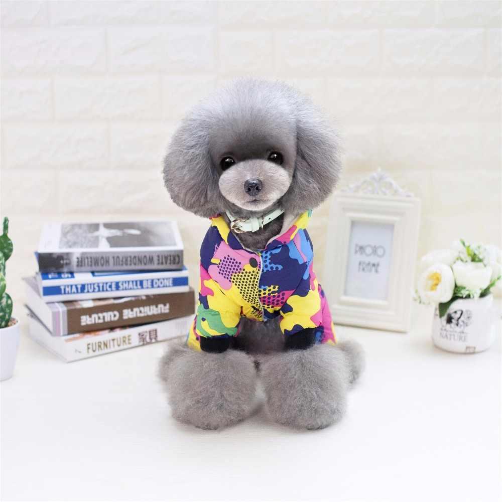 겨울 애완 동물 강아지 옷 따뜻한 애완 동물 플러시 코트 자켓 치와와 작은 중간 개를위한 4 개의 다리 후드 강아지, 요크 Ropa Perro