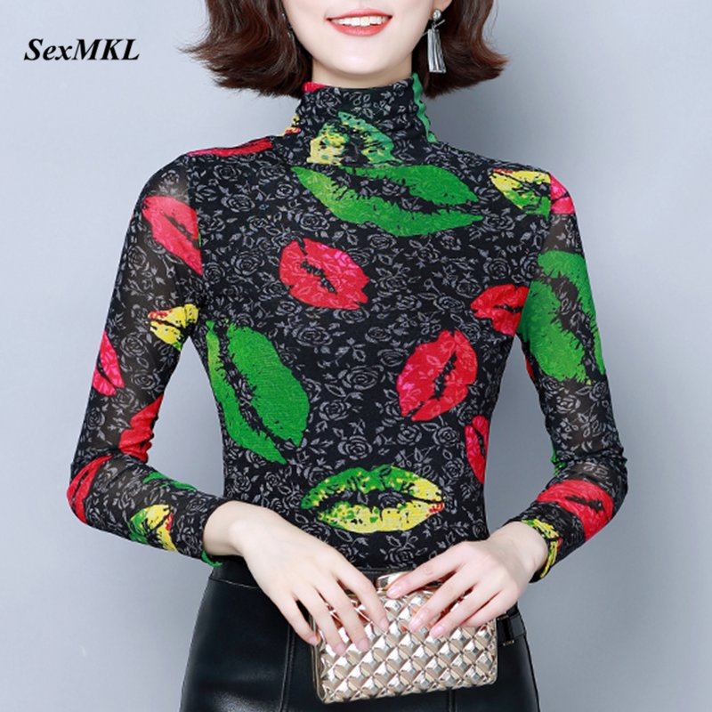 Womens Printed Tops And Blouses 2019 Fashion Long Sleeve Turtleneck Blouse Office Korean Women Winter Casual Tops Plus Size