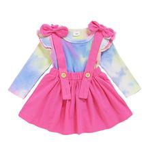 Осенне зимний комплект с юбкой для маленьких девочек топ длинными
