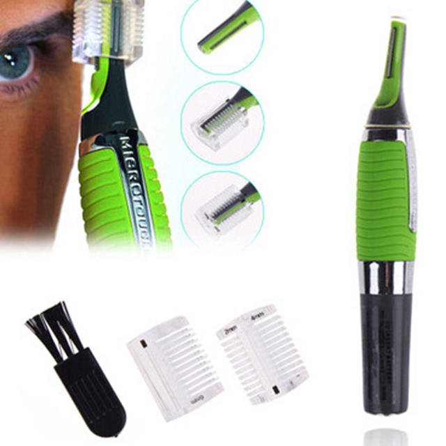 Green multifunctional Eyebrow Ear Nose Trimmer Removal Clipper Shaver Personal Electric Face Care Hair Trimer With LED Light