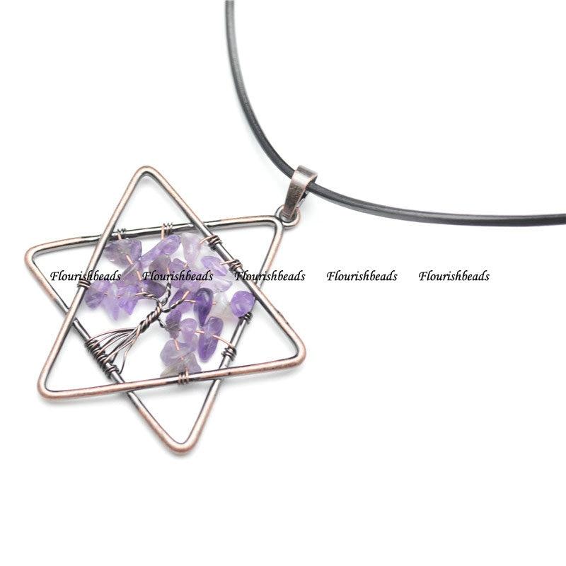 Copper Pendant Amethyst Star
