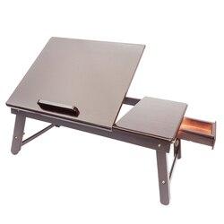 53cm Retro zwykły projekt regulowana bambusowa taca na biurko ciemna kawa bez kwiatów regulowana biurko komputerowe brązowe
