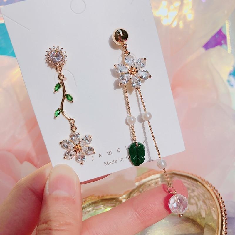MENGJIQIAO 2020 New Korean Fashion Leaf Long Tassel Pendientes Mujer Moda Transparent Elegant Crystal Flower Drop Earrings
