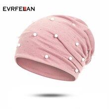 Evrfelan модная Осенняя женская шапка с жемчужинами и черепами, шапка женская зимняя, шапки женские зимние, теплые шапки для женщин, шляпа