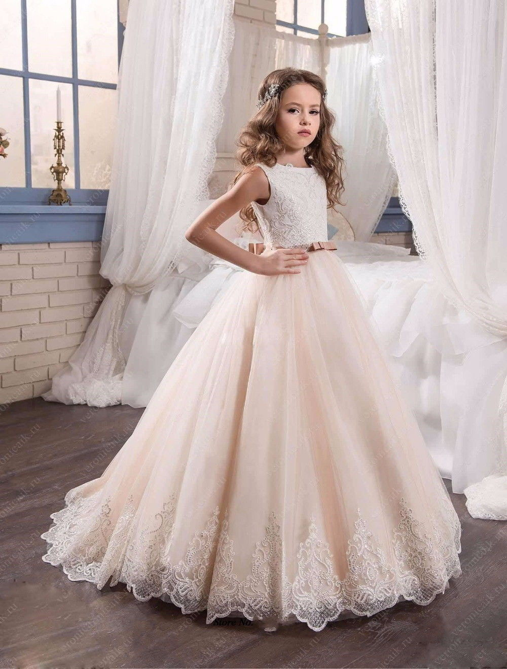 Flower Girl Dresses For Wedding Pageant 9 Colors Tulle Lace Applique Kids First Communion Gown Party Princess Girls Dresses