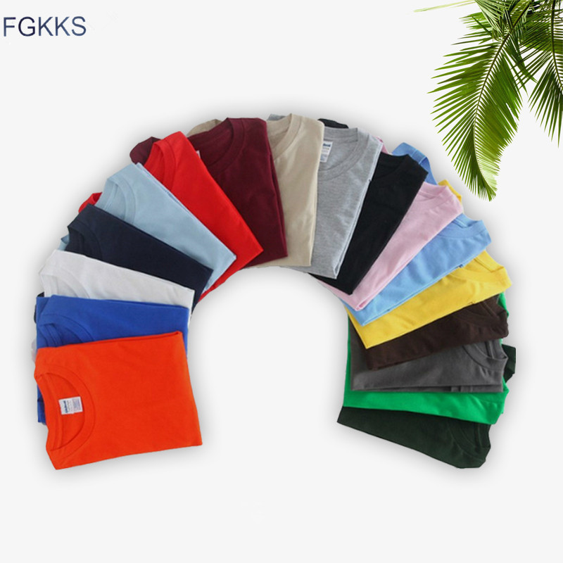 FGKKS New Men Summer Ventilation T-shirt Fashion Male T Shirts Solid Color Street Simplicity Wild Tee Top