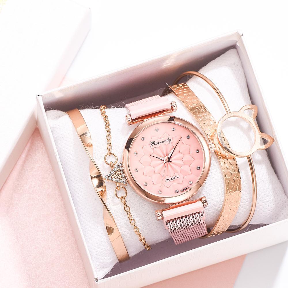 5PCS Watch Set Luxury Brand Women Dress Quartz Clock Bracelet & Bangle Ladies Sports Wrist Watch Clock Gift Relogio Feminino