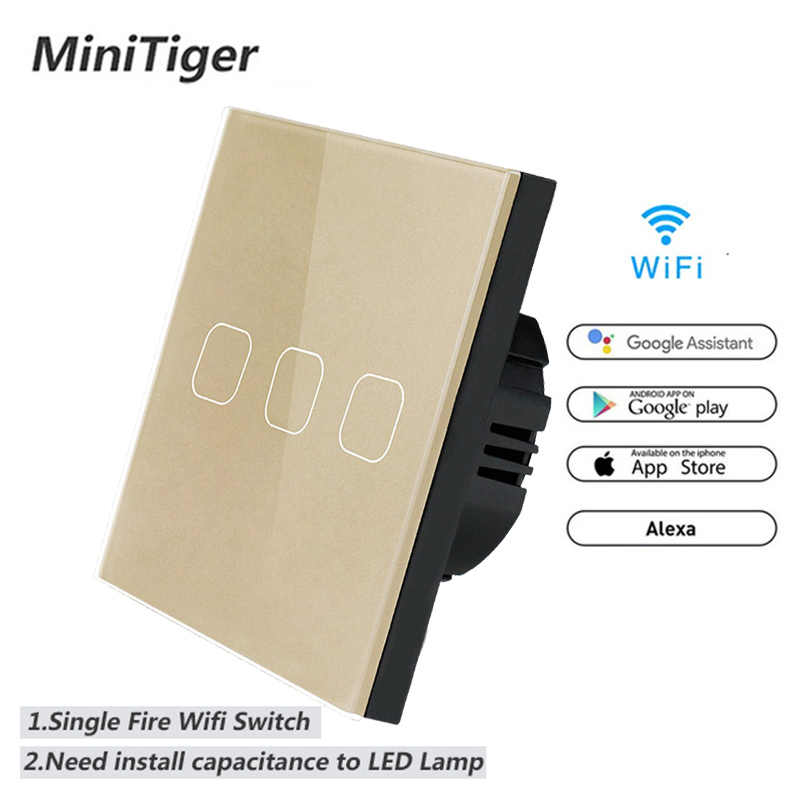 Minitiger WIFI Smart Touch Switch APP Wireless Remote Light Wall Switch Crystal Glass Panel Work With Alexa / Google Home