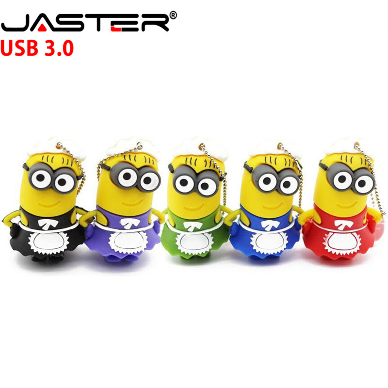 JASTER 3.0 Minions Usb Flash Disk 100% Real Capacity Pen Drive Memory Stick Despicable Me2 Servant Girl Maid Style U Disk