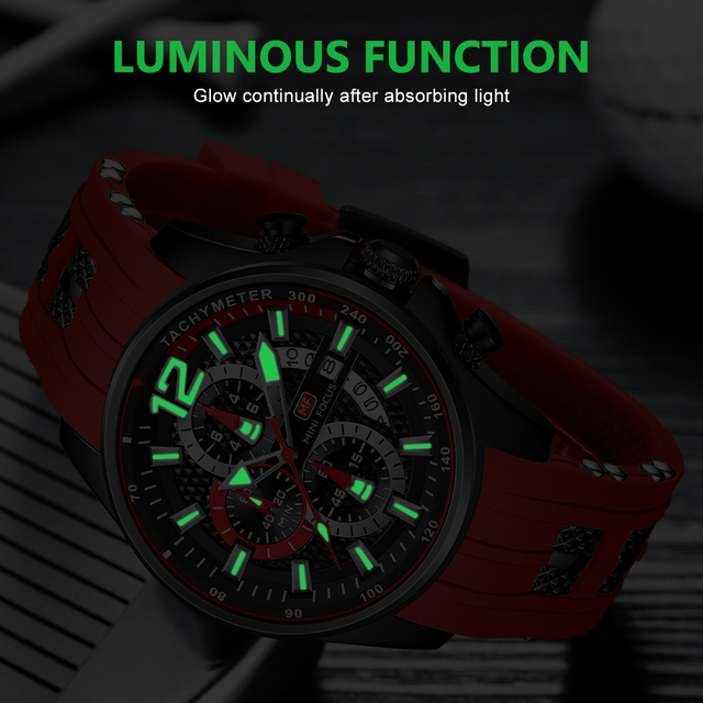 MINI FOCUS Fashion Men's Watches Top Brand Luxury Quartz Waterproof Sports Clock Wristwatch Relogio Masculino Red Silicone Strap 6