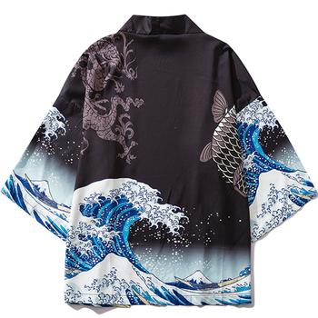 Czarny kardigan Kimono kobiety mężczyźni japoński Obi mężczyzna Yukata męska Haori japońska fala karpia z powłoką drukowaną tradycyjna japonia odzież tanie i dobre opinie CN (pochodzenie) POLIESTER Odzież azji i pacyfiku wyspy Trzy czwarte Tradycyjna odzież