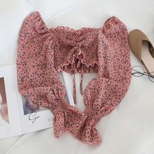 Женская пляжная блузка с принтом в стиле бохо, модная рубашка с длинным рукавом, сексуальная короткая блузка с рюшами, топы, женские блузы, т...