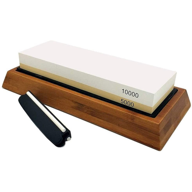 Whetstone Set,5000/10000 Grit Double-Sided Knife Sharpening Stone for Kitchen,Non-Slip Bamboo Base and Angle Guide