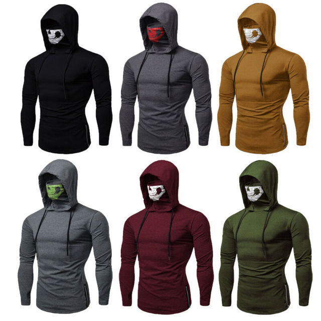 Men's Drawstring Zipper Skull Mask Hoodie Sweatshirt Hooded Tops Streetwear New Fashion Plus Size 6